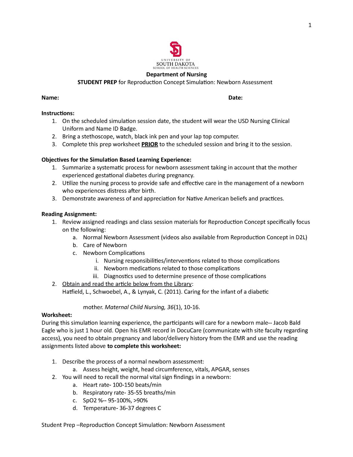 Student Prep Reproduction Concept Newborn Assessment - NURS 330