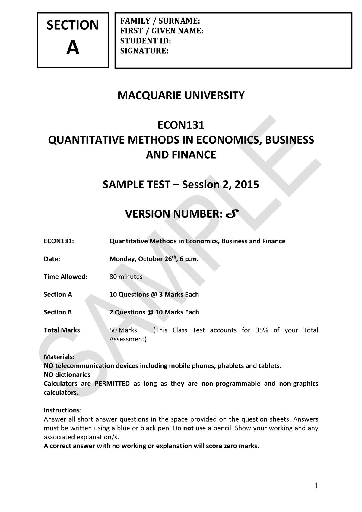 Sample/practice exam 10 November 2015, questions - ECON131