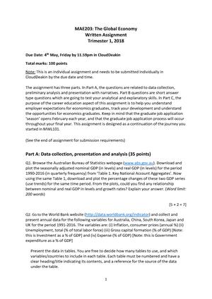 Written-Assignment-MAE203-T1-2018 - MAE102 - Deakin - StuDocu