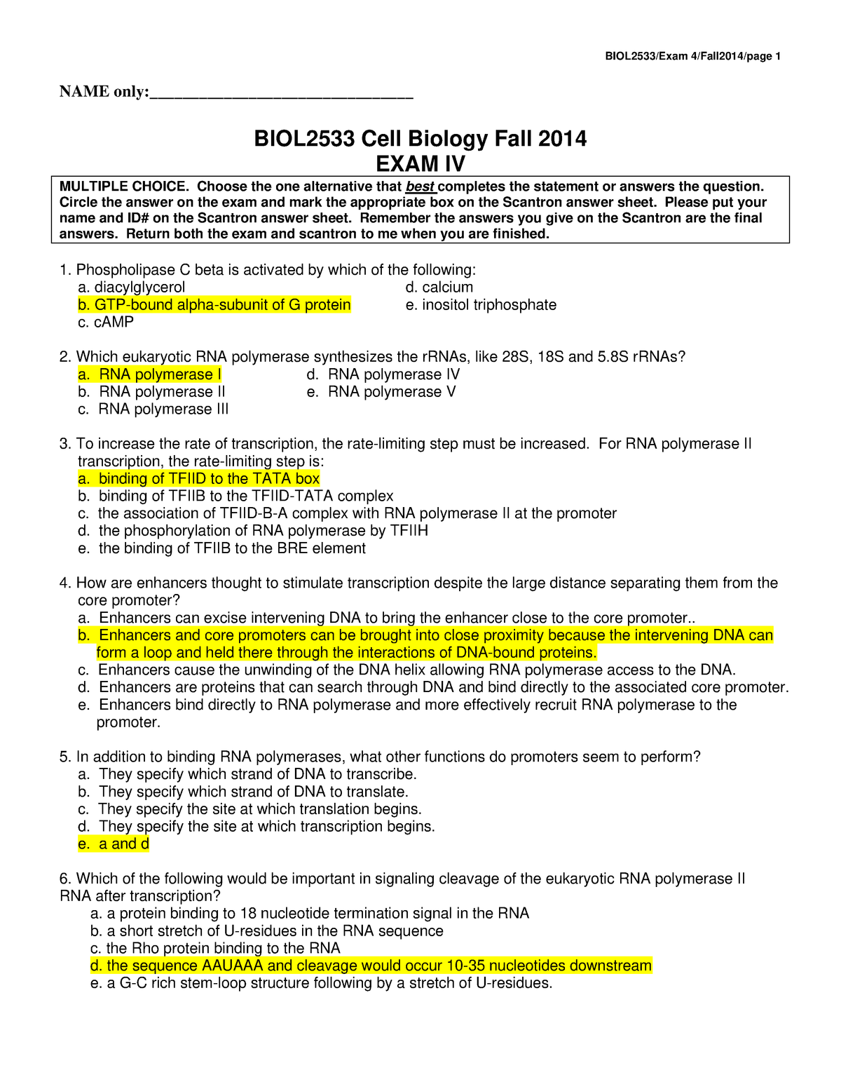 EXAM December 14 Autumn 2014, questions and answers - StuDocu