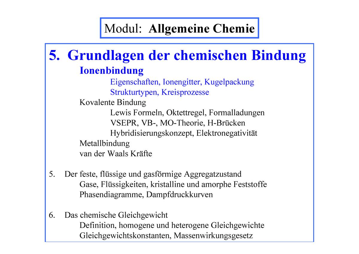 All Vl 6 Vorlesungsmaterial 6 Allgemeine Chemie Studocu