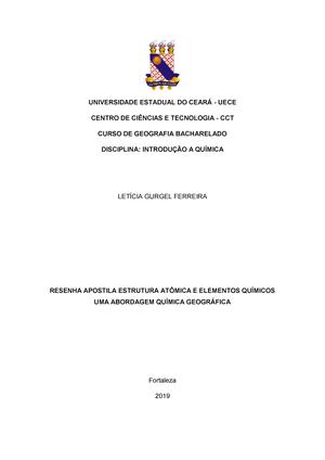 Resumo Apostila Estrutura Atômica E Elementos Químicos Uma