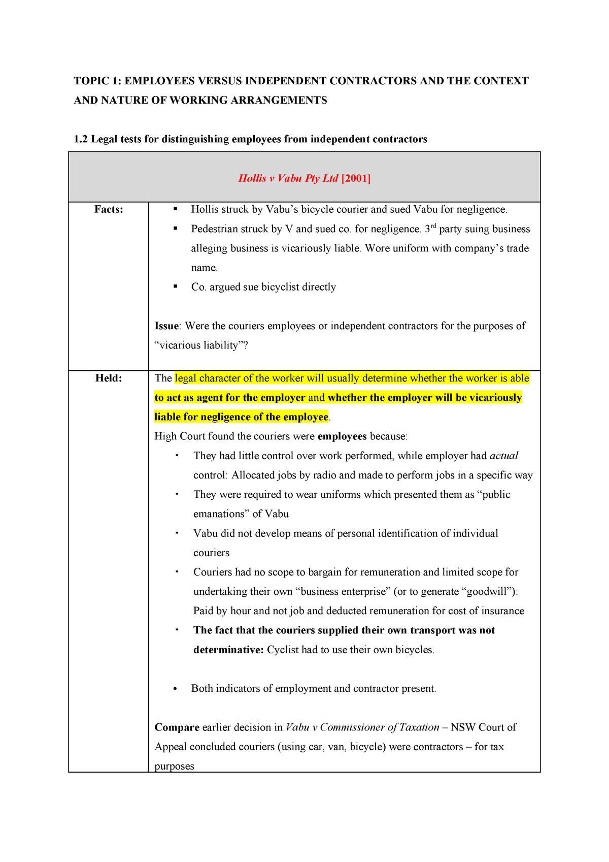 Employment law cases - LAW4132 - StuDocu