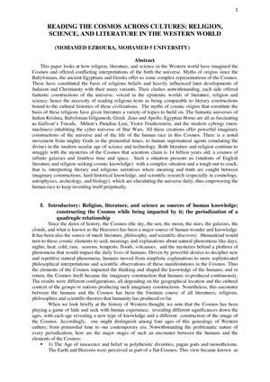 Religion Lit Science - English - StuDocu