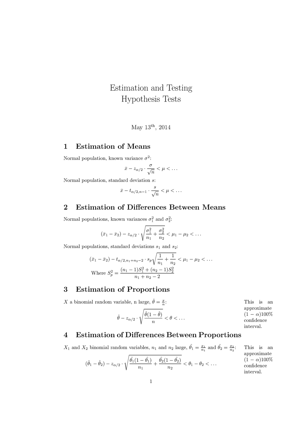 Hypothesis tests - EBP036A05: Estimation and Testing - StudeerSnel nl