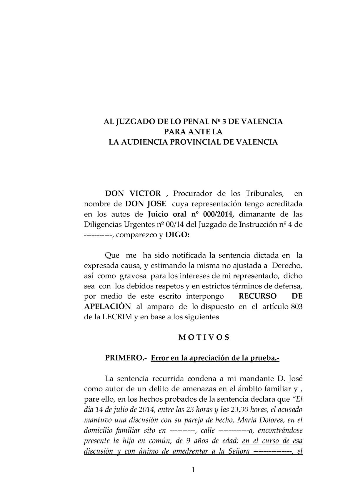 Modelo Recurso De Apelación Derecho Procesal Iii 35214