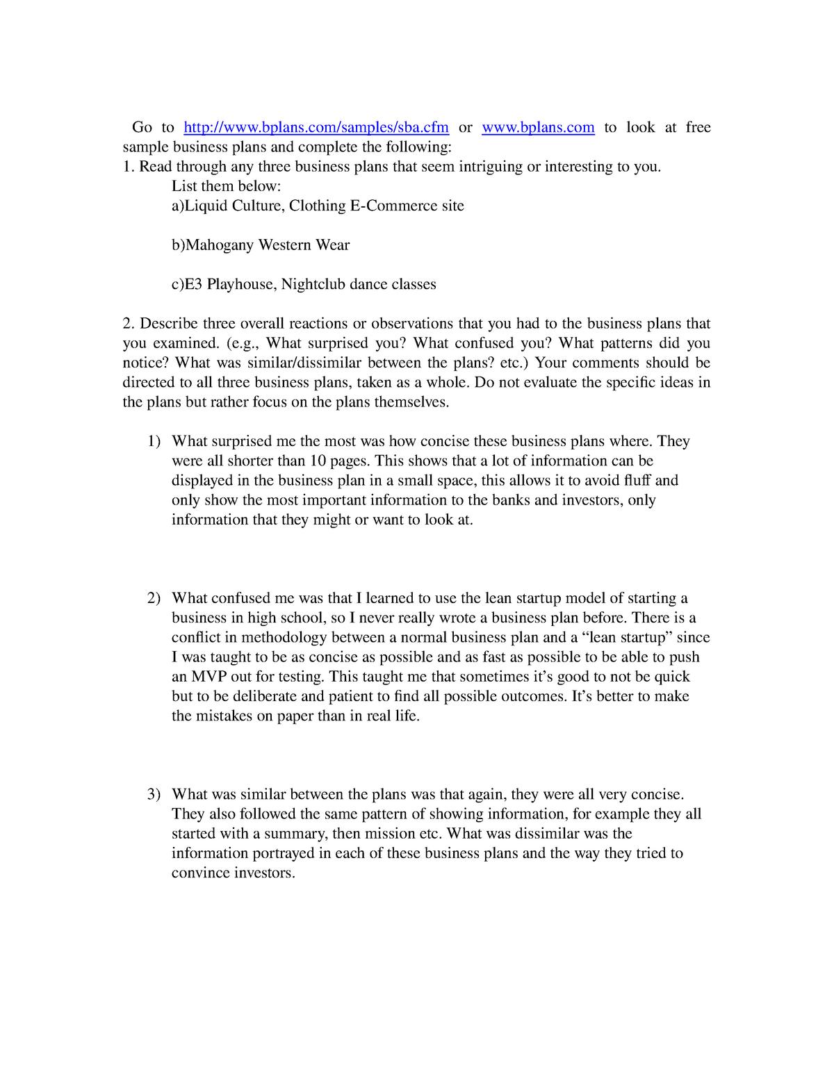 Reviewing Business Plans Entr 6216 Nu Studocu