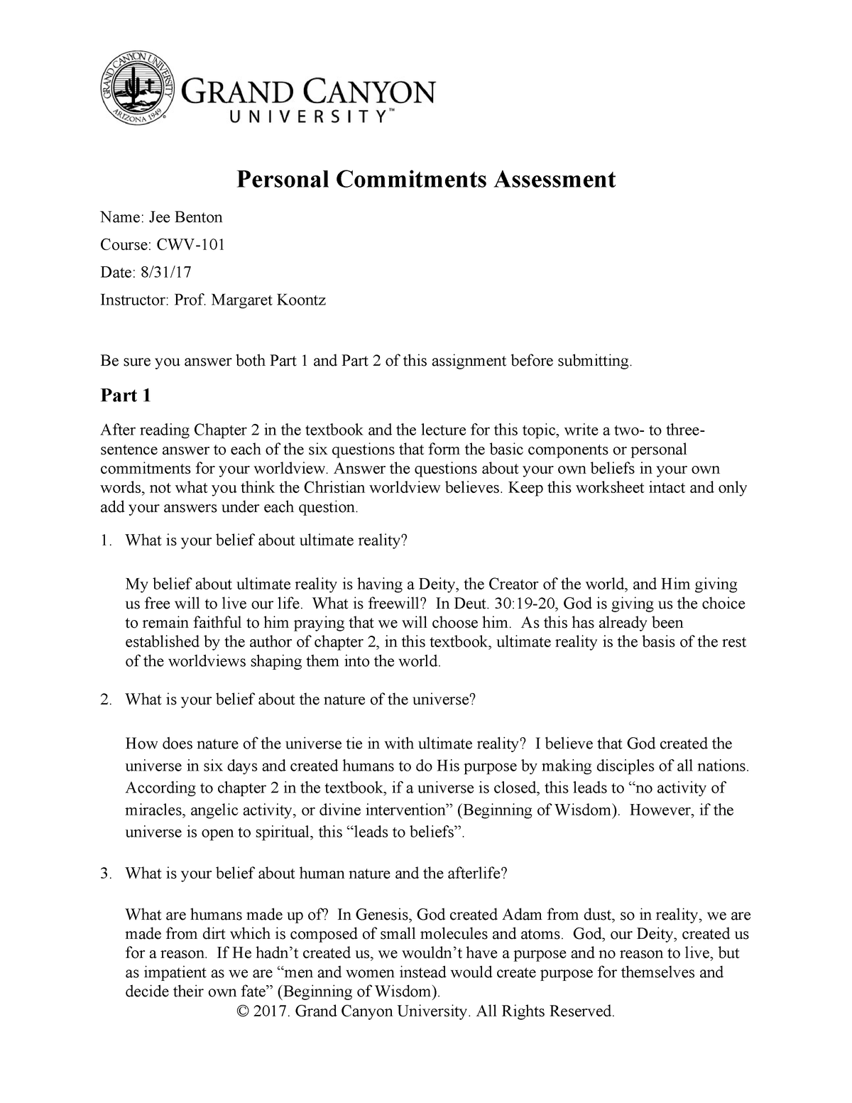 CWV 101 301 RS T1Personal Commitments Assessment - CWV-106HN