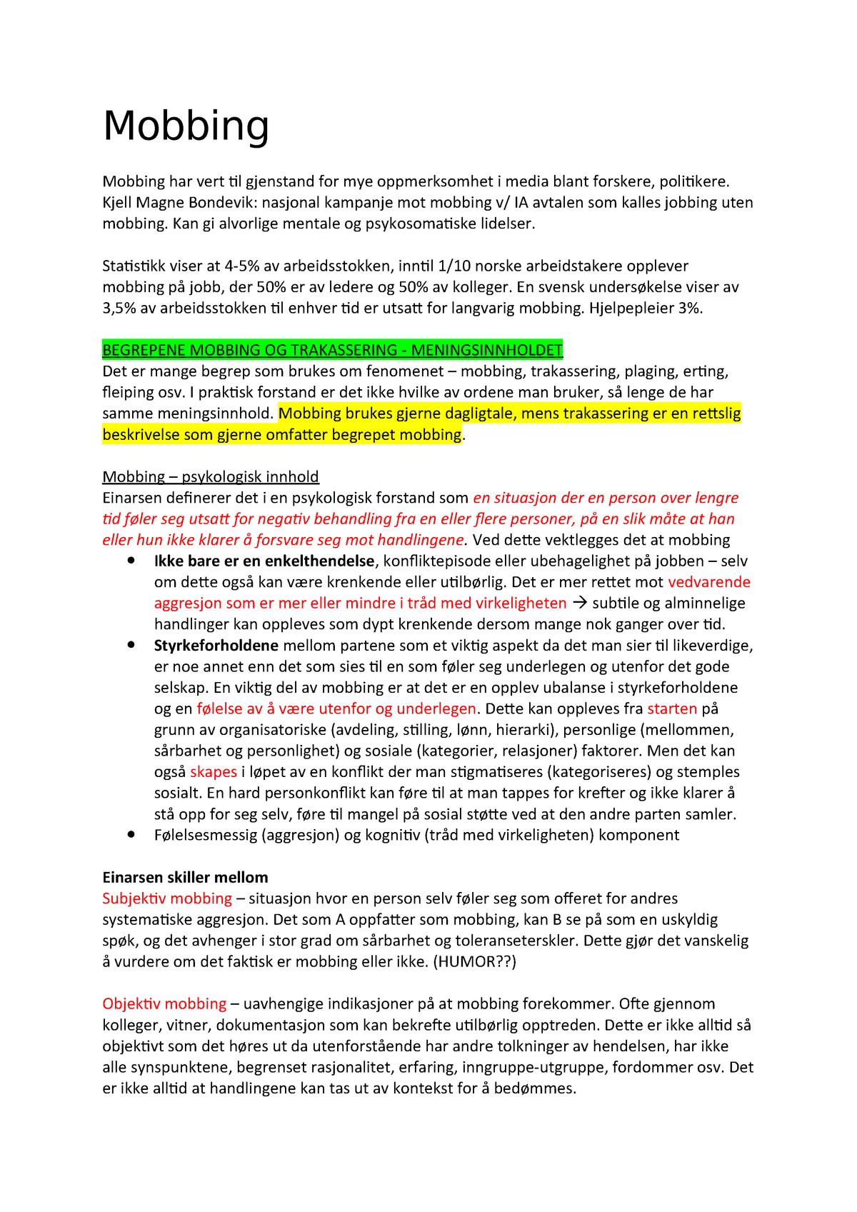 f58cb5e3 Mobbing - Arbeids- og organisasjonspsykologi PSYK110 - StuDocu