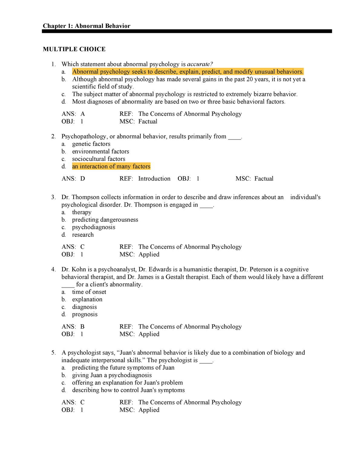 PYC3702 - Test bank for Understanding - Answers - PYC3702: Abnormal