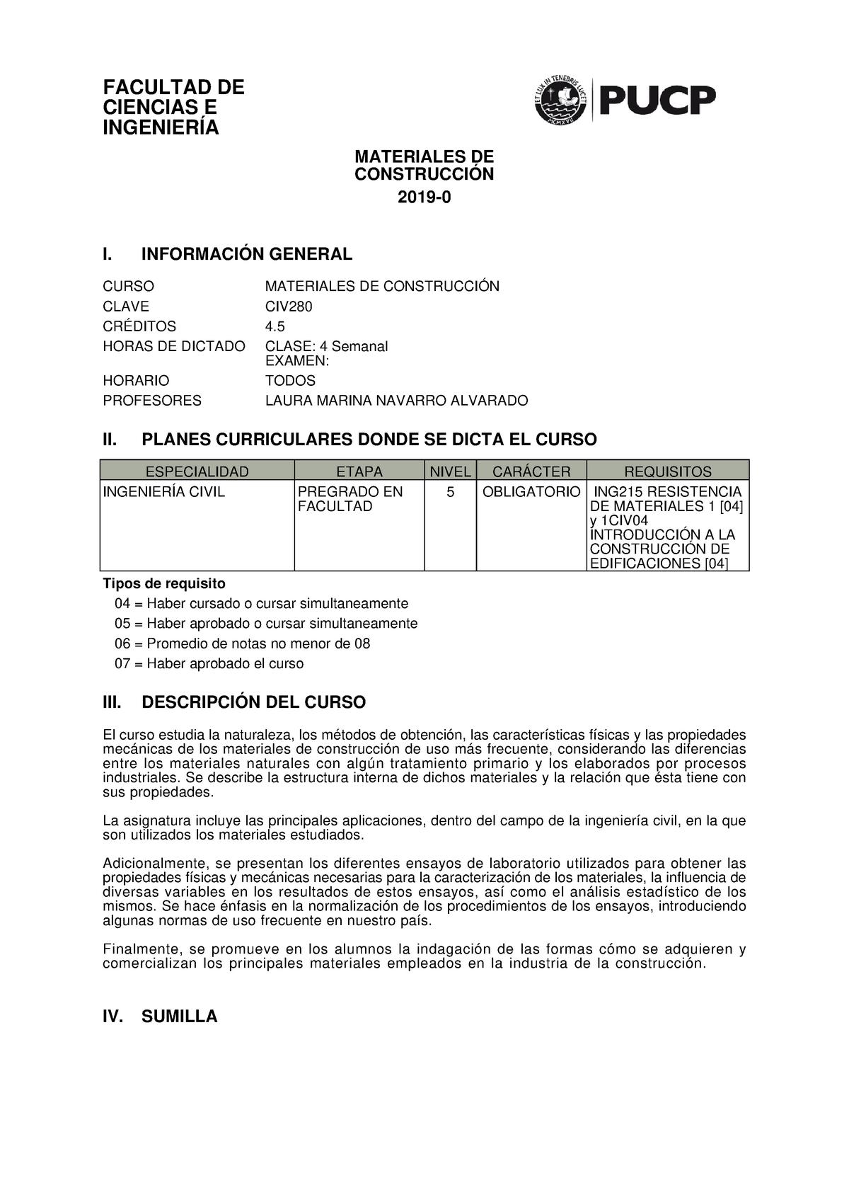 Civ280 2019 0 Nota 9 Materiales De Contrucción Civ280