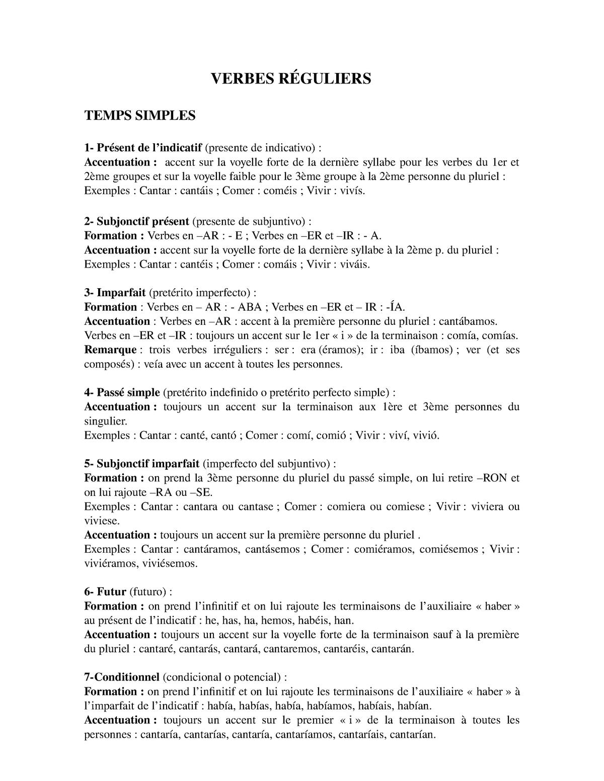 Cours Verbes Reguliers Grammaire Espagnole Verbes Guliers Temps Simples Pr Sent De Indicatif Presente De Indicativo Accentuation Accent Sur La Voyelle Forte Studocu