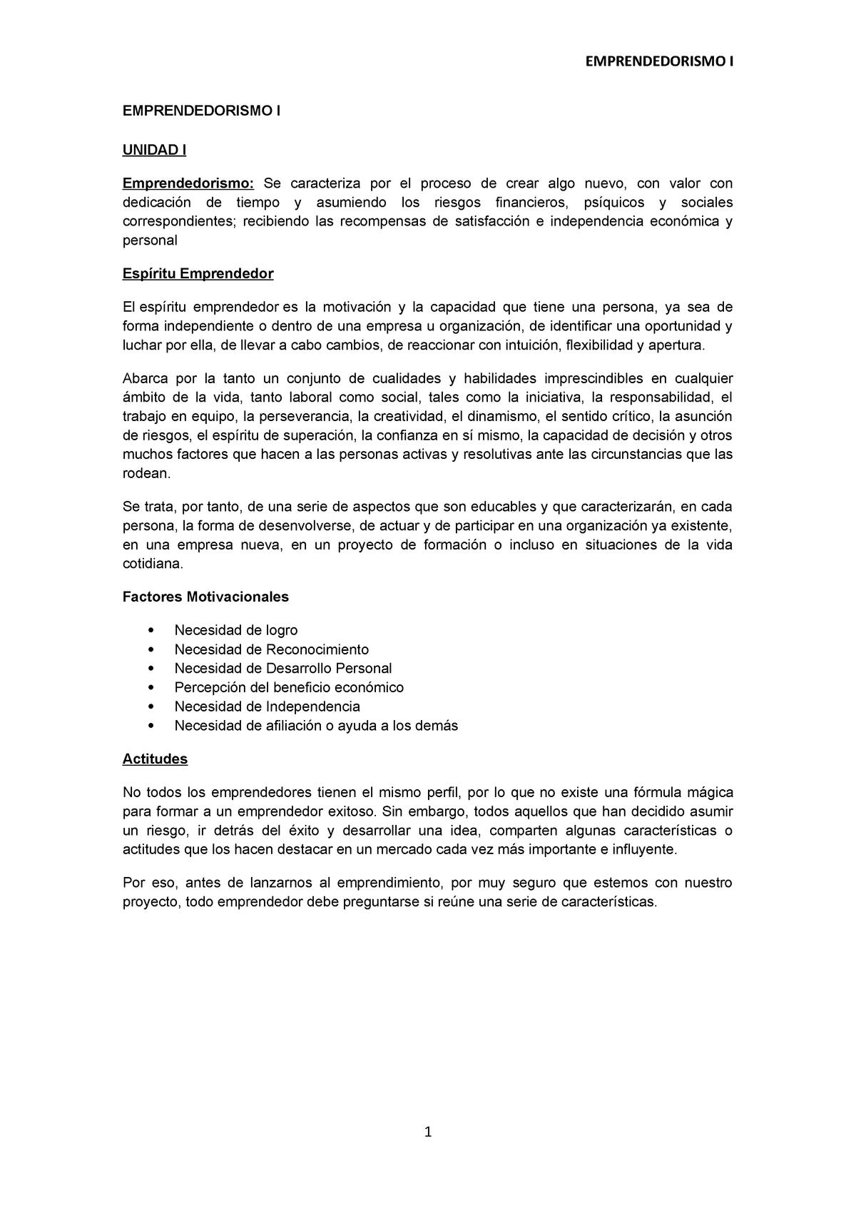 Compilado Unidad 1 Apuntes 1 Emprendedorismo I Una