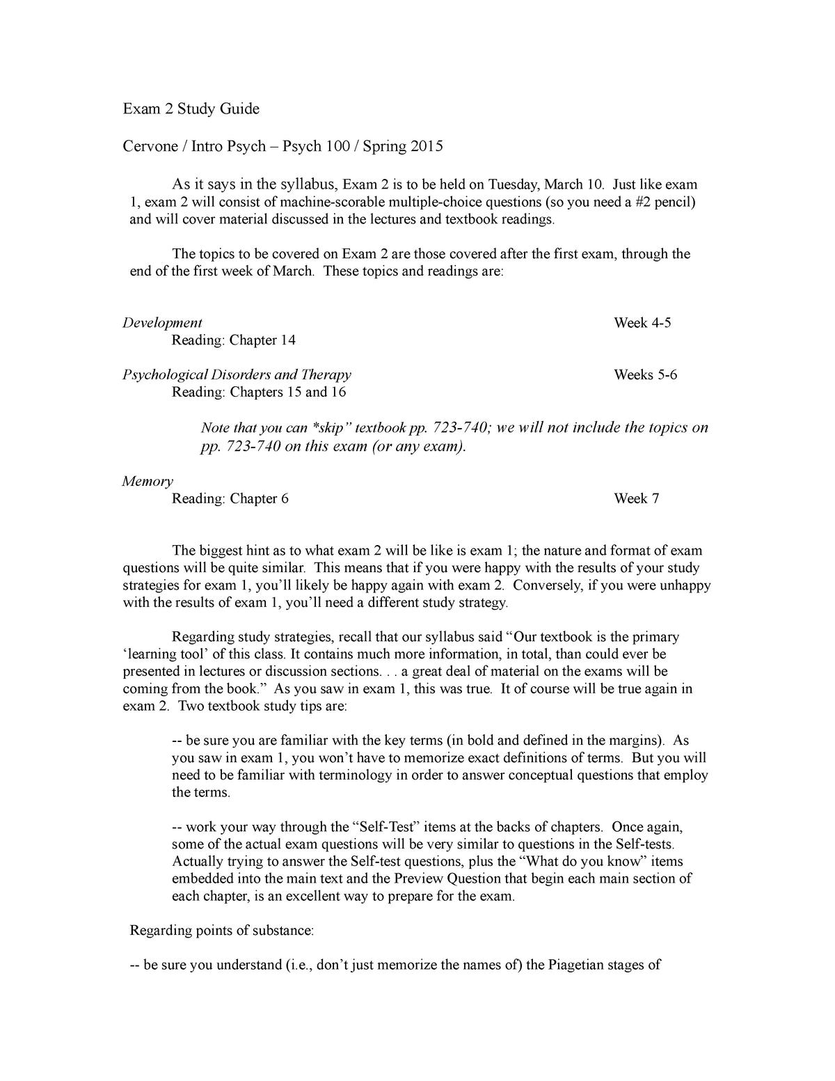 Exam 2 Study Guide 100 cervone spring 2015 - PSCH 100