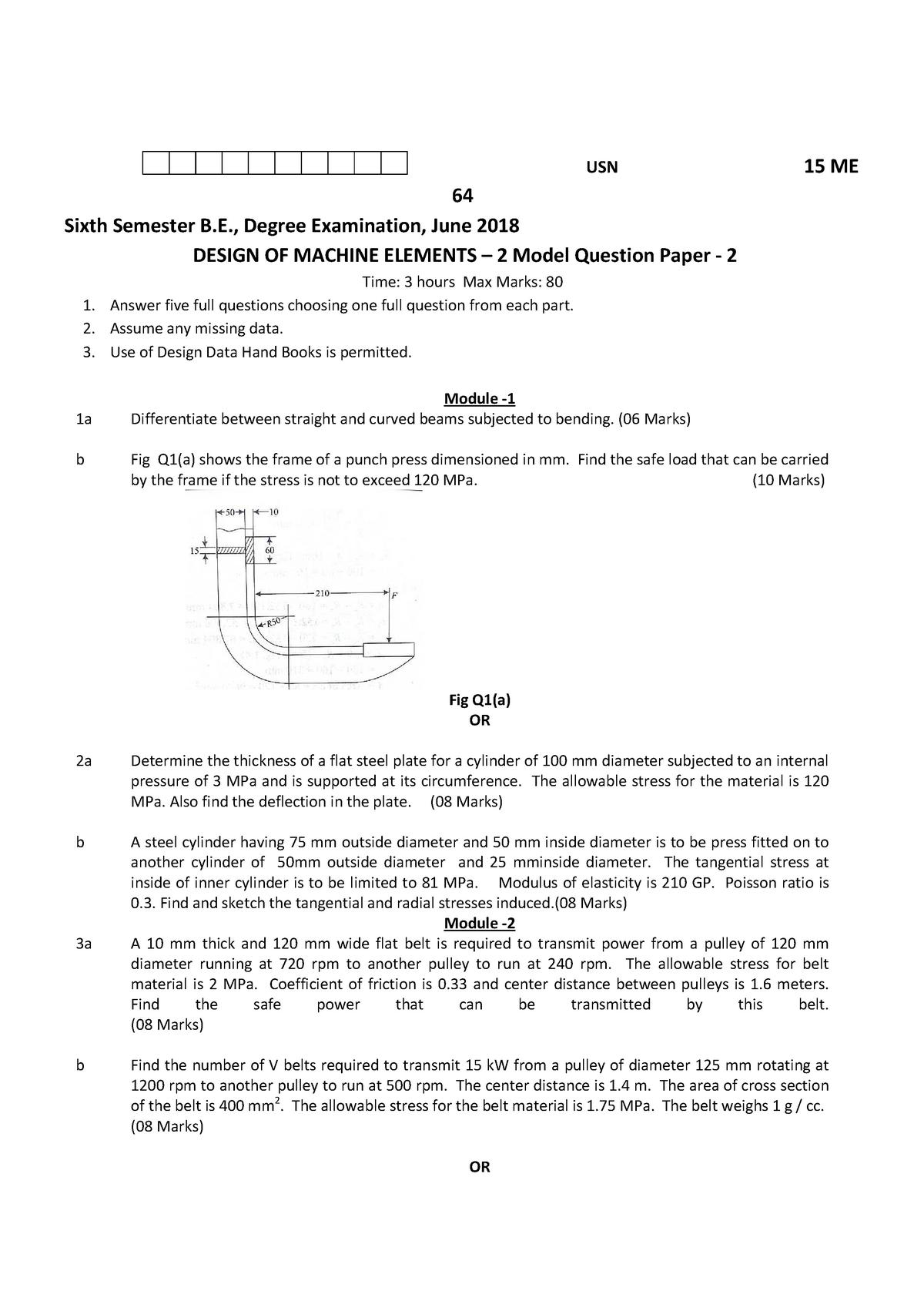 Exam 2018 - 15ME642: DESIGN OF MACHINE ELEMENTS - StuDocu