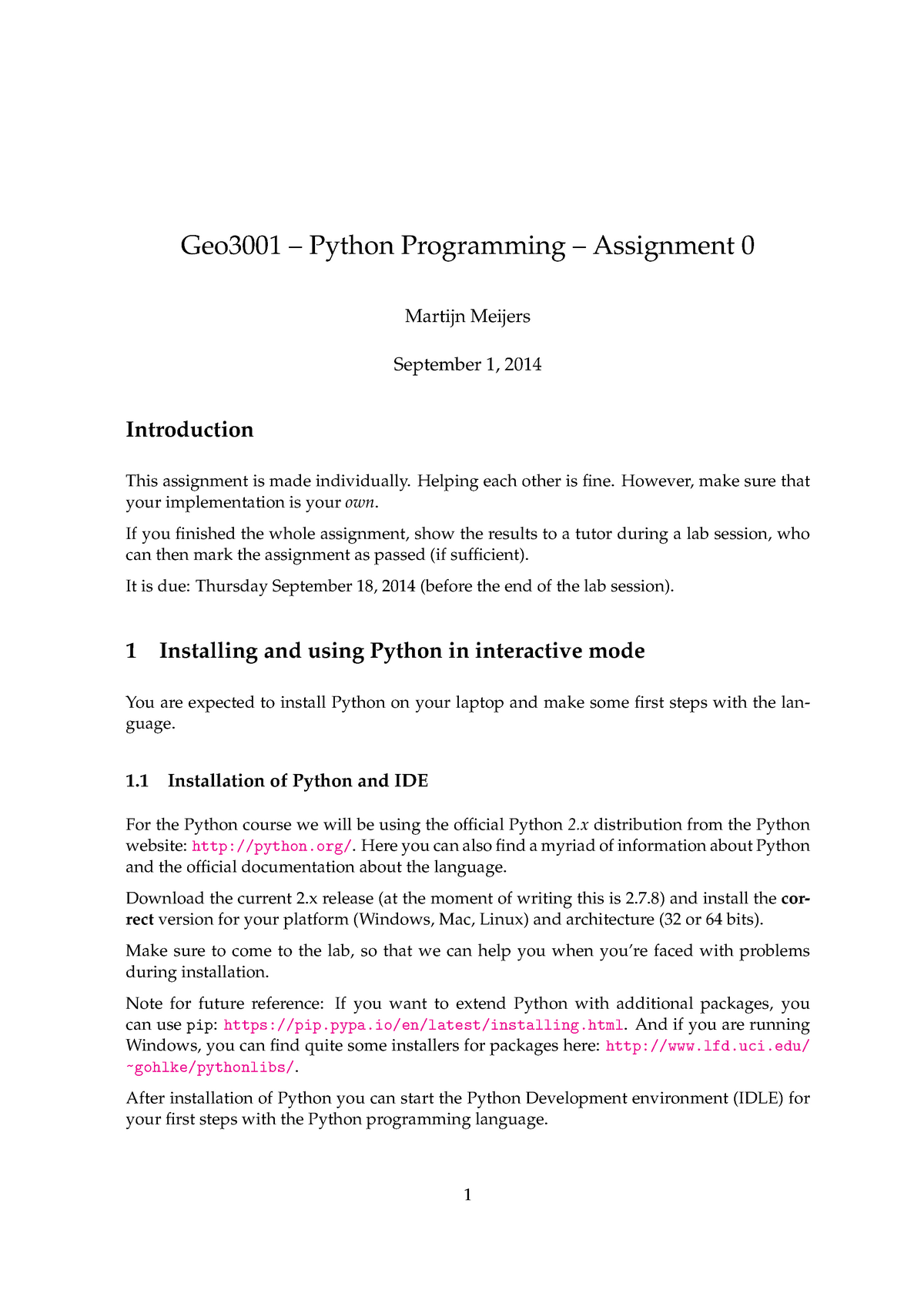 Python Programming for Geomatics - Assignments - assignment0