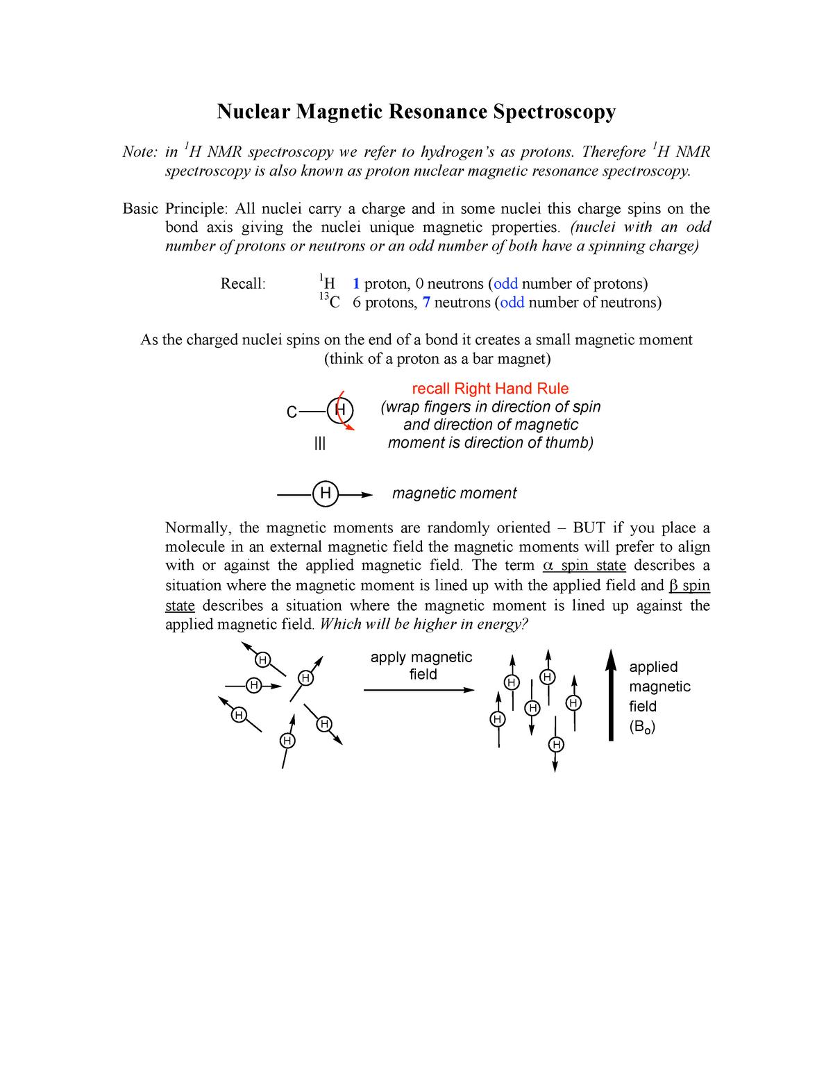 Nmr1 Nmr Chem 281 Organic Chemistry I Sfu Studocu