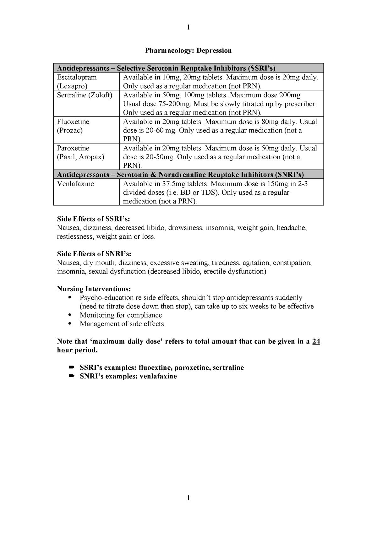 Exam preparation Pharmacology depression - HNB2206 - StuDocu