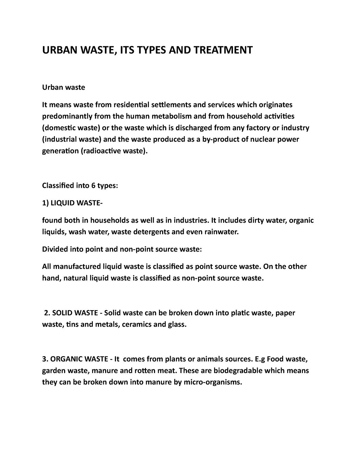 Exam notes on urban waste - Environmental Geology - StuDocu