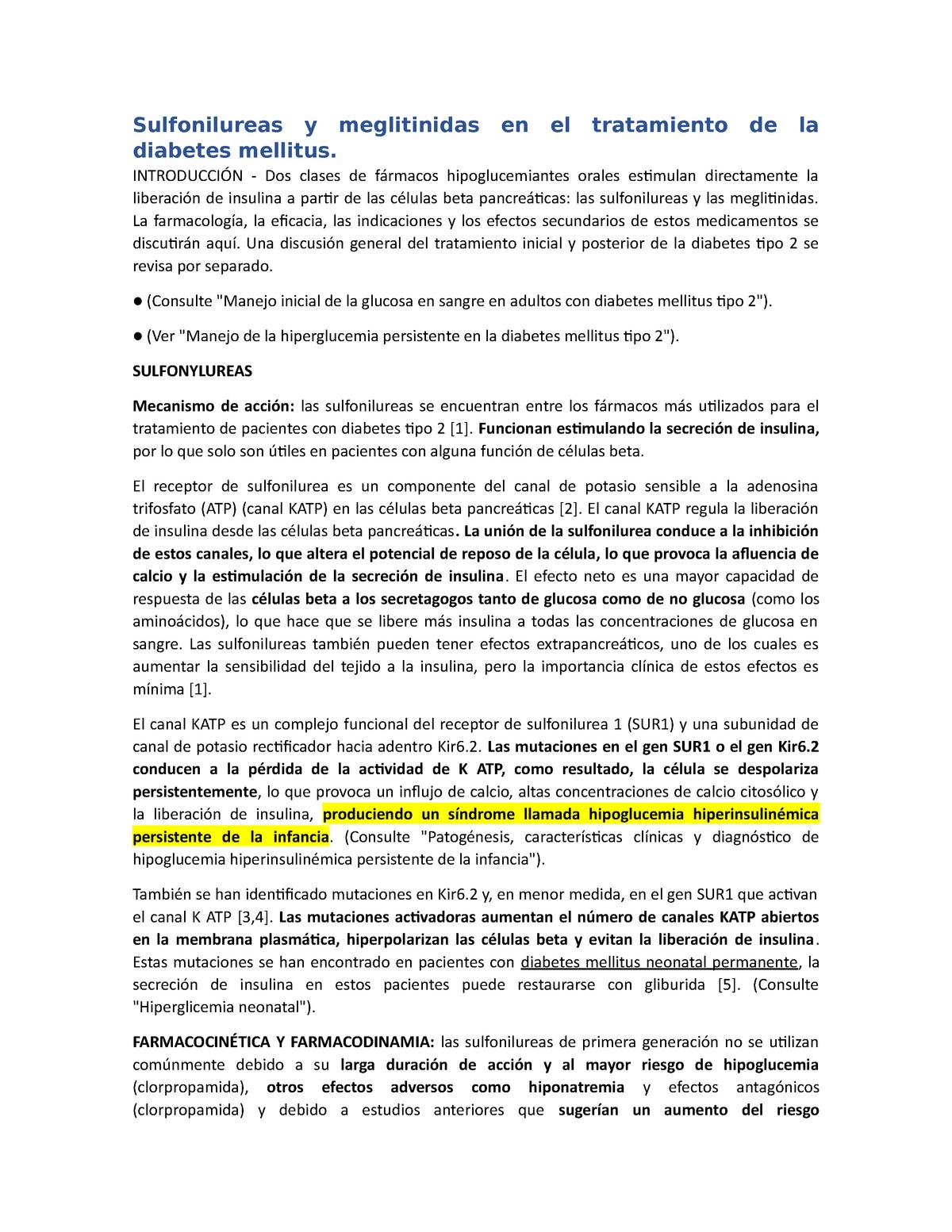 medicamentos para la diabetes y mecanismo de acción