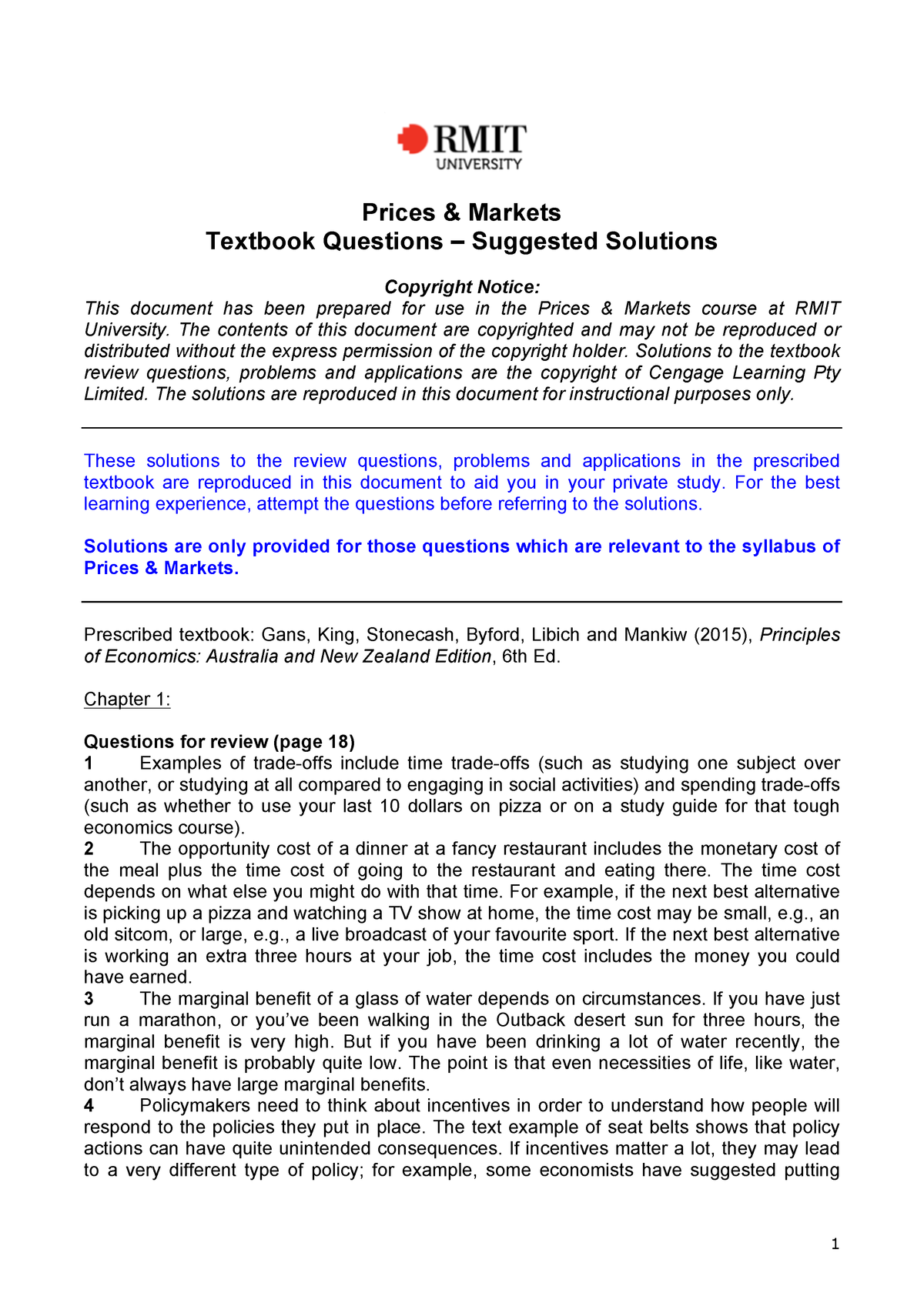 Solutions to Textbook Questions(3) pdf - ECON1275 - RMIT