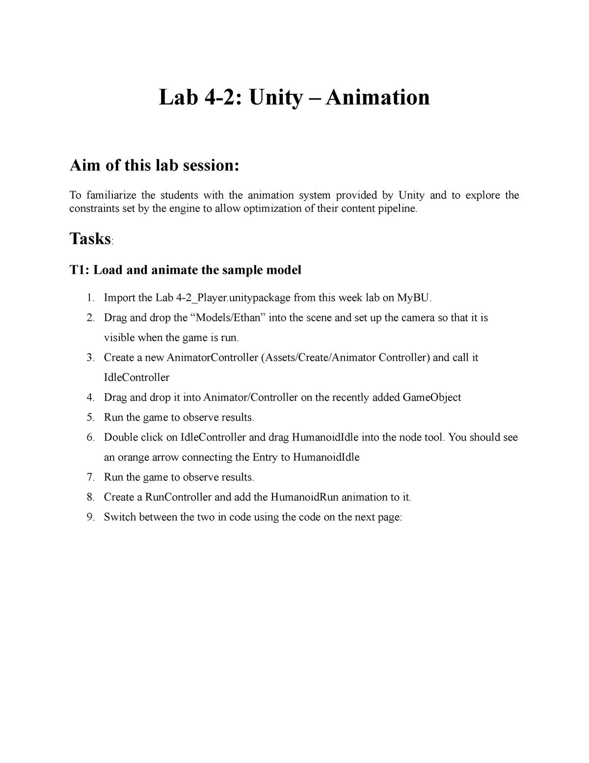 Lab 4-2 - Unity - animation - Mobile Games Programming - StuDocu
