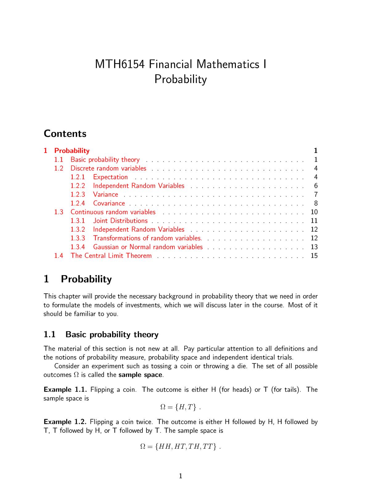 Probability Chapter 01 Financial Mathematics I Mth6154 Studocu