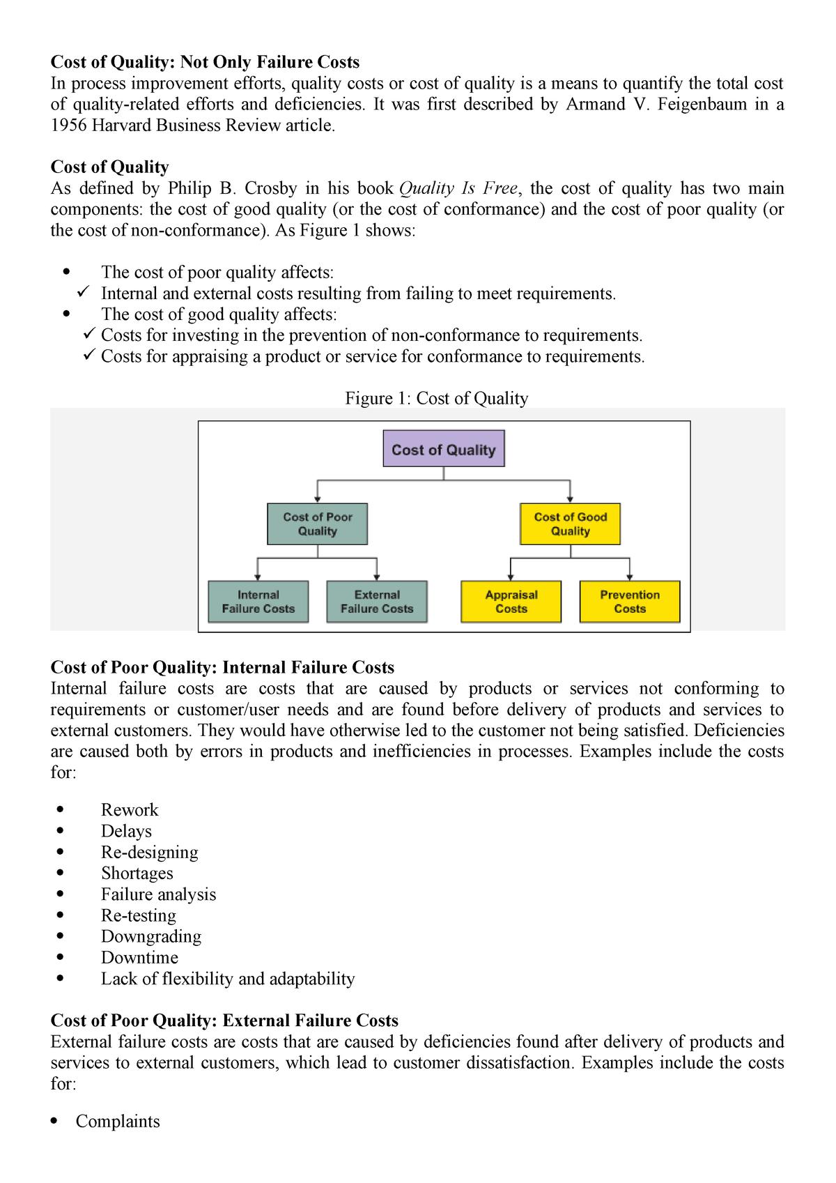 Cost of quality - Lecture notes 7 - Management - AIUB - StuDocu