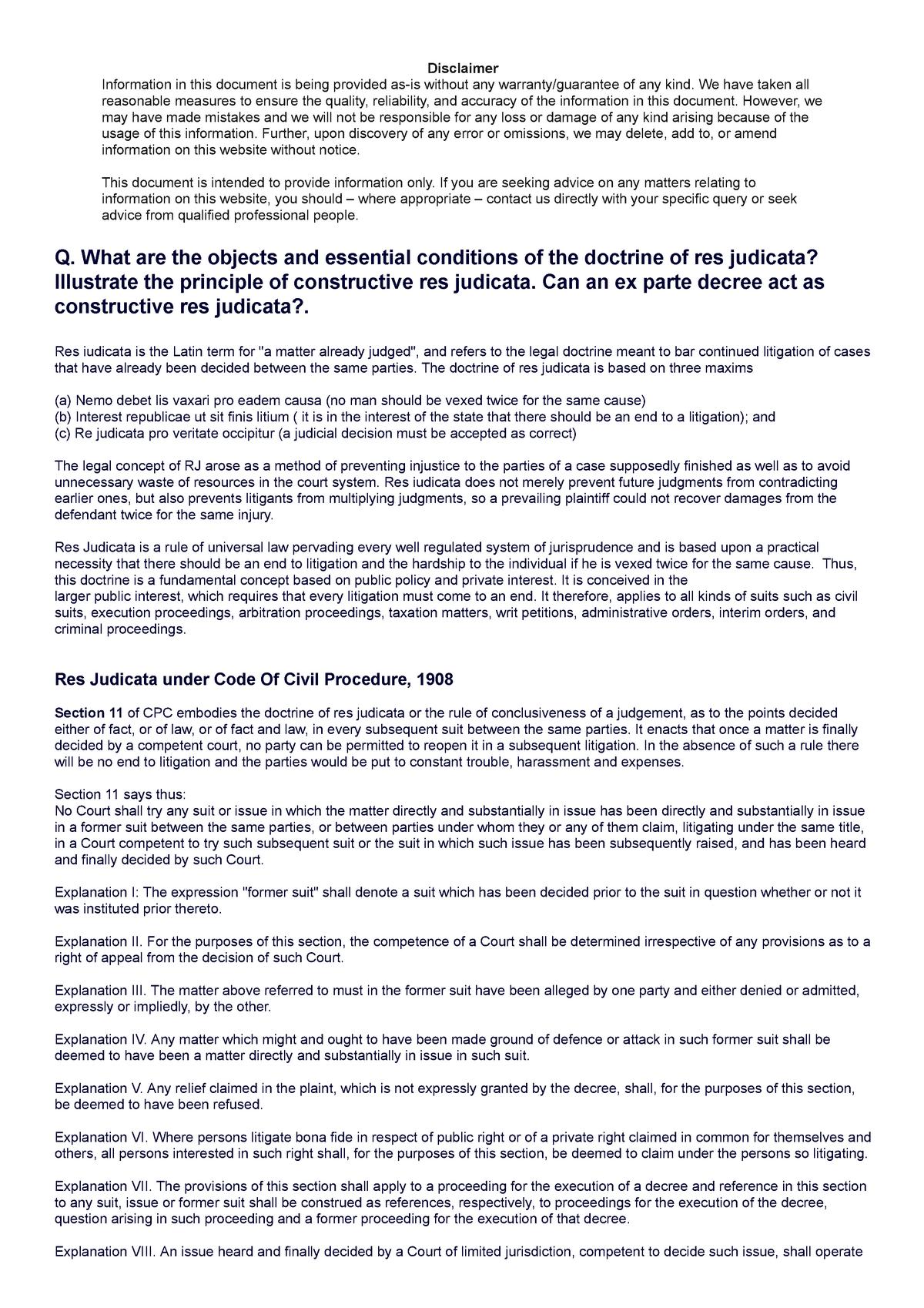 Hanumant com CPC-Res Judicata - Civil procedure code - StuDocu