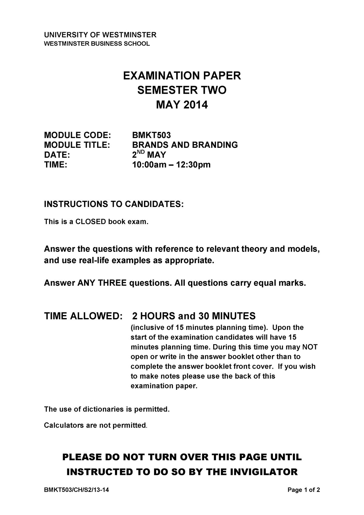 4b5c8765ed Exam 2014 - BMKT503: Brands and Branding - StuDocu