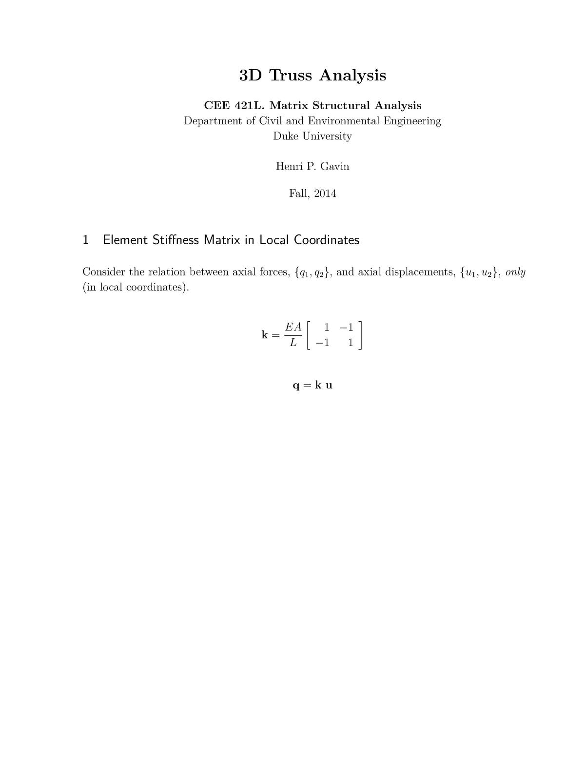 Practical - 3d truss analysis - CEE 421L : Matrix Structural