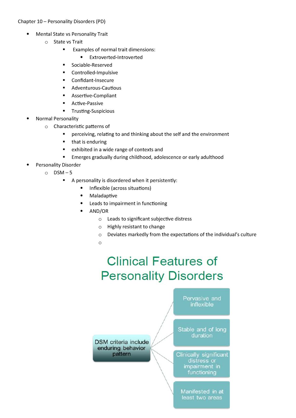 Chapter 10 - personality disorders - Psychopathology SPV212