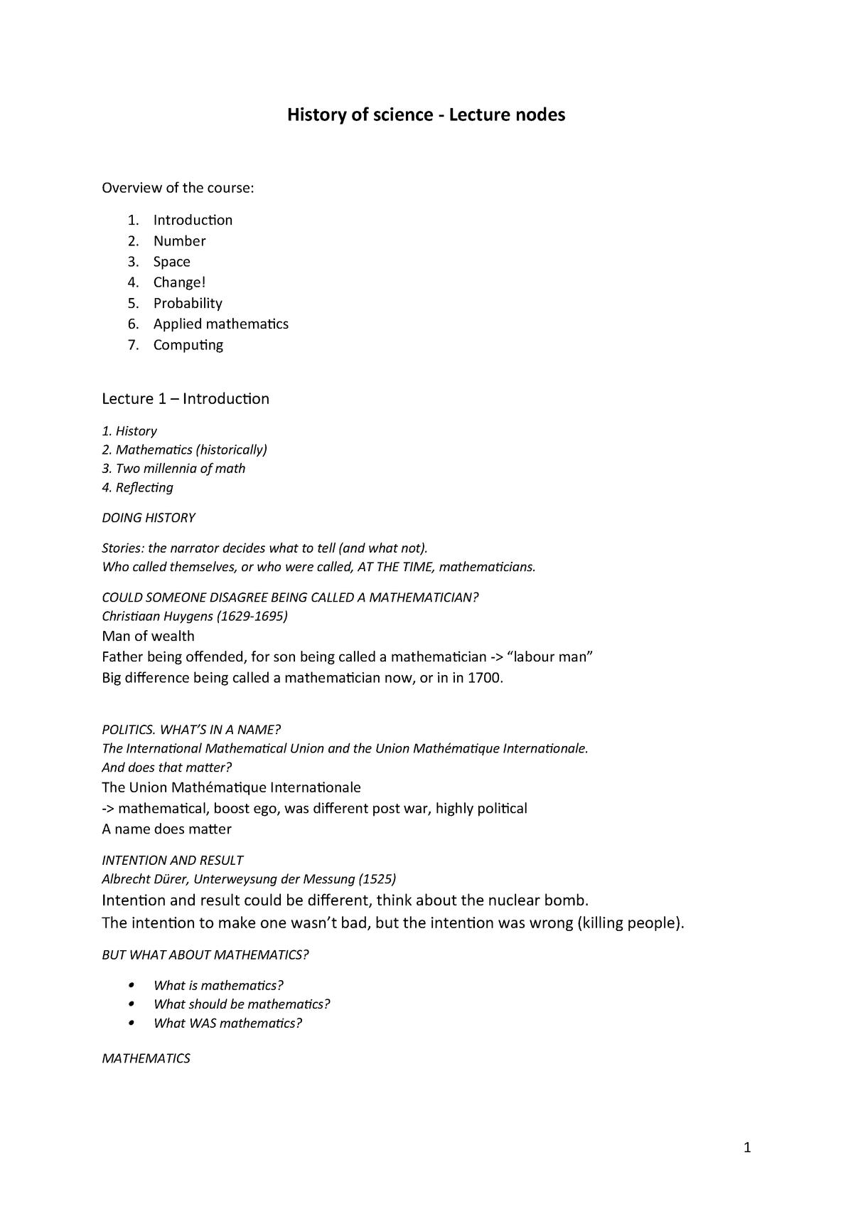 Aantekeningen hoorcolleges - X_400318: History of Science