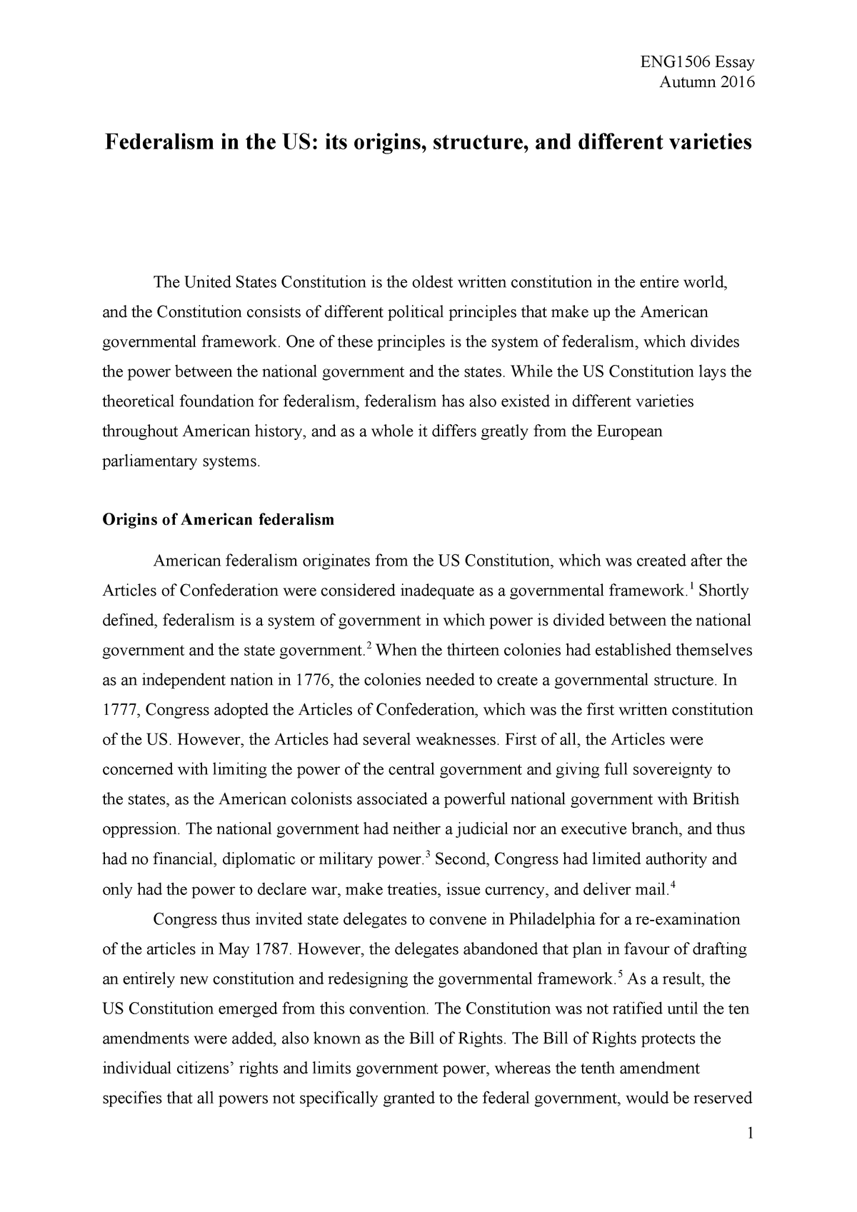 Article confederation essay