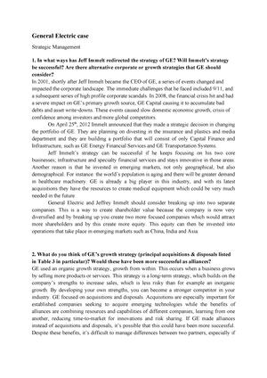 Seminar assignments - general electric case - 6012B0312Y