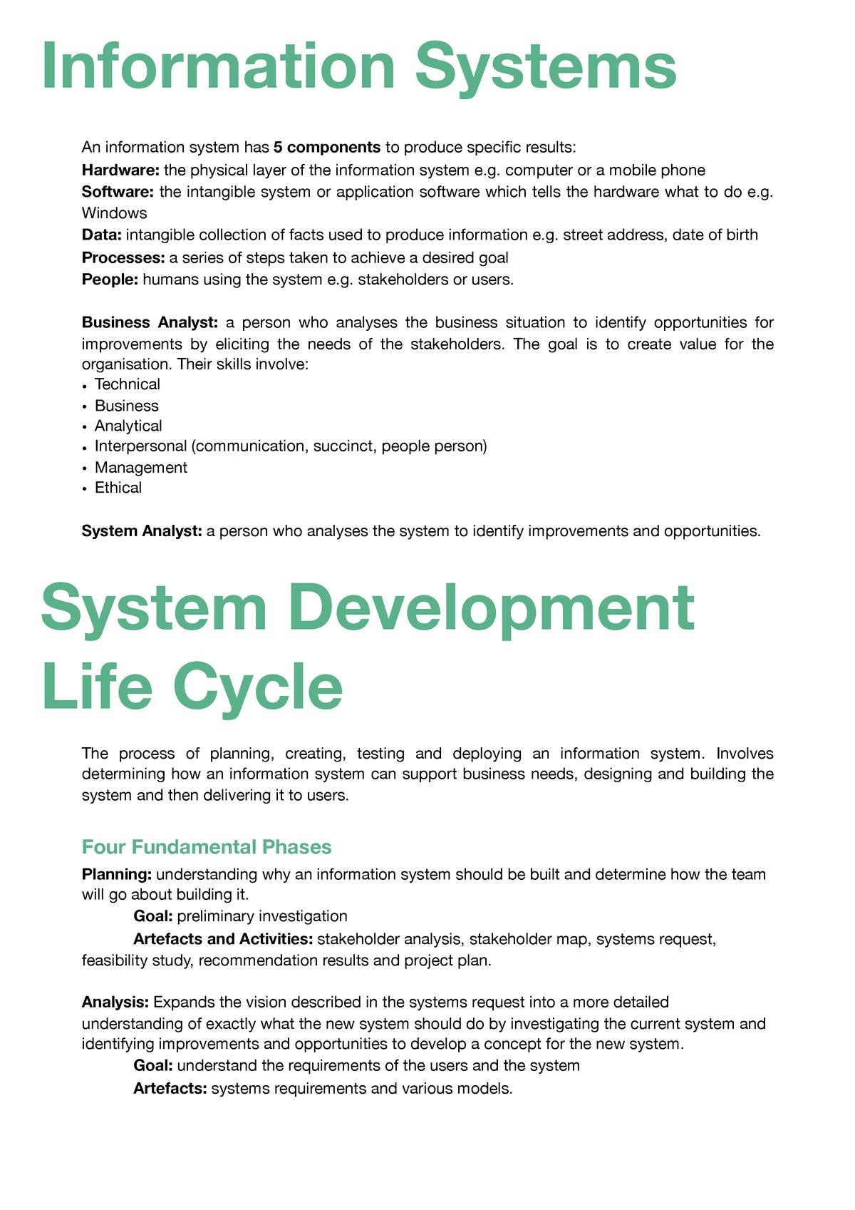 Infosys 220 Test - Business Systems Analysis - StuDocu