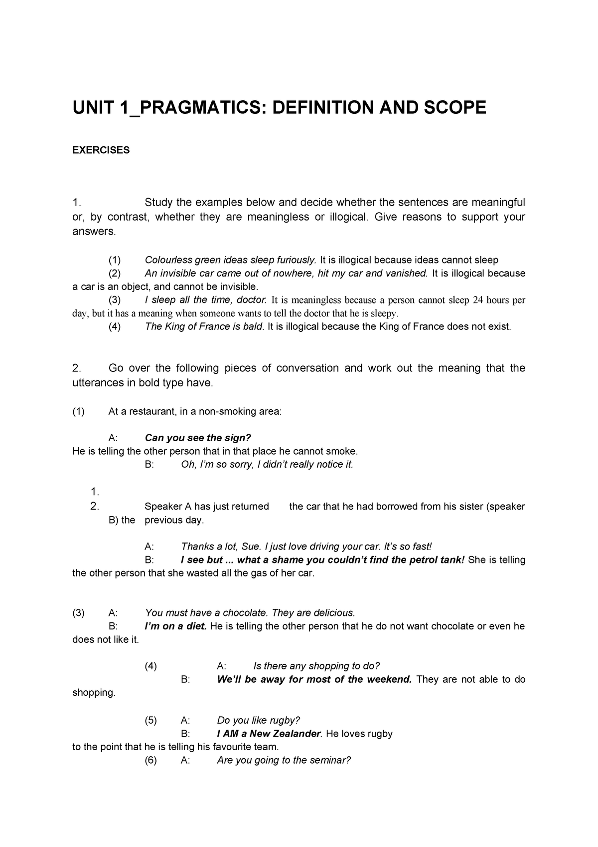 Pragmatics of the hell - Ejercicios - 259093201: Pragmática de la