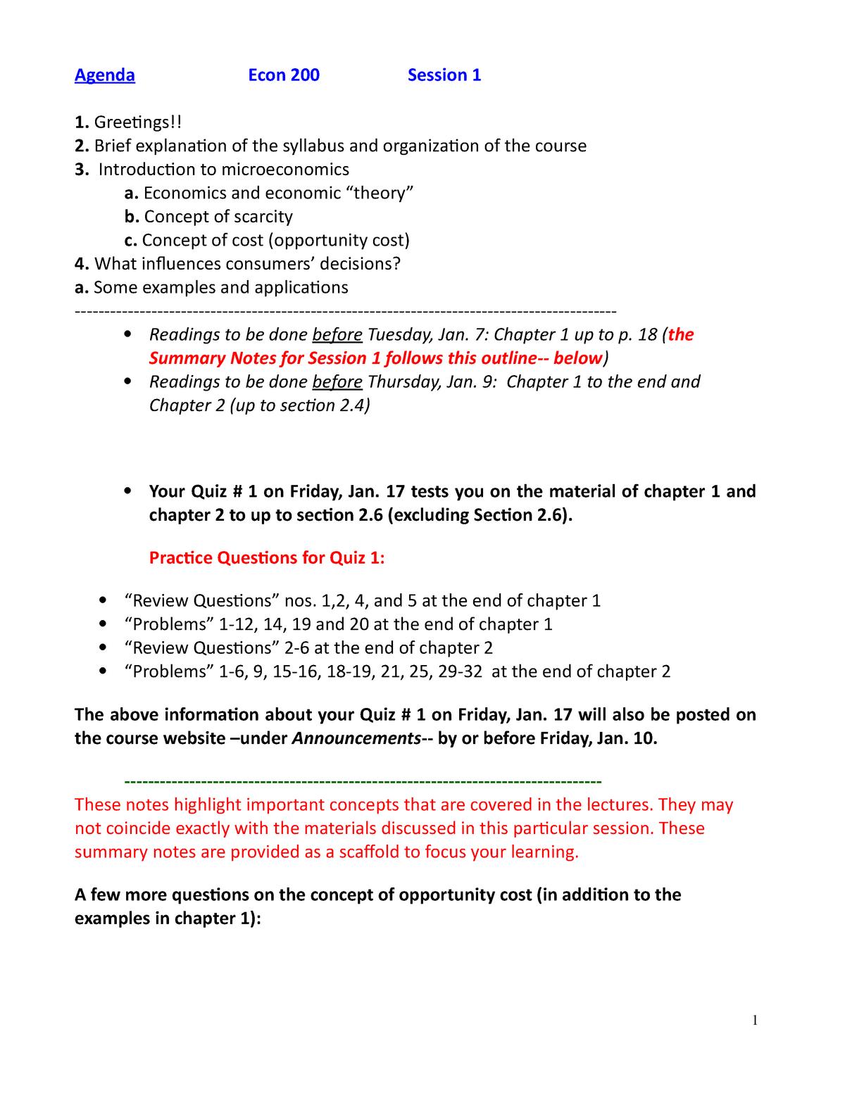 Summary Notes-Session 01-Jan 7 - ECON200 - UMD - StuDocu