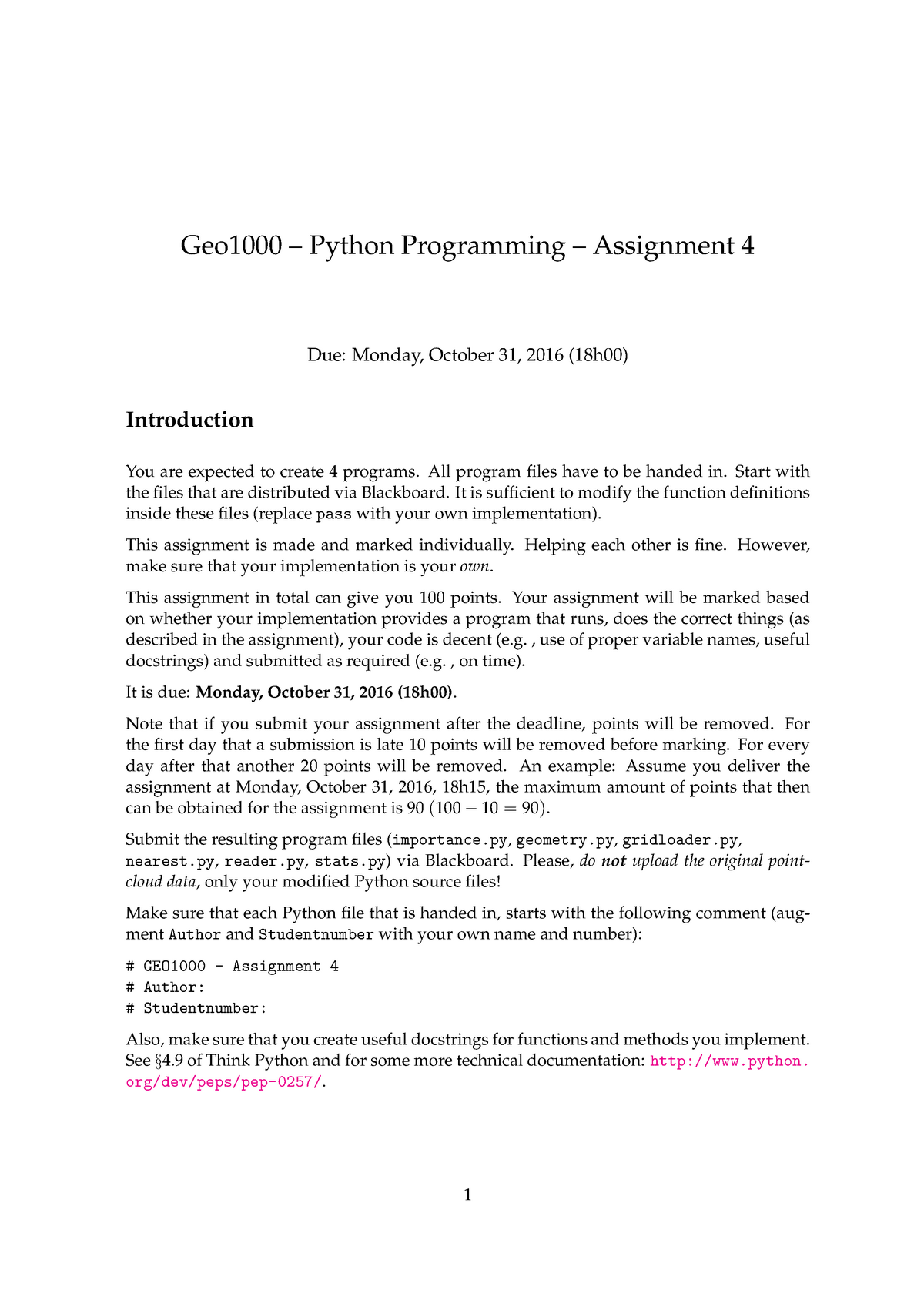 Assignment 4 - GEO1000: Python Programming for Geomatics
