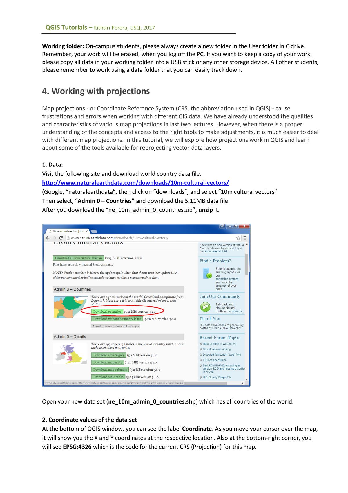 2017 QGIS TU04 projections - GIS1401: Geographic Data Presentation