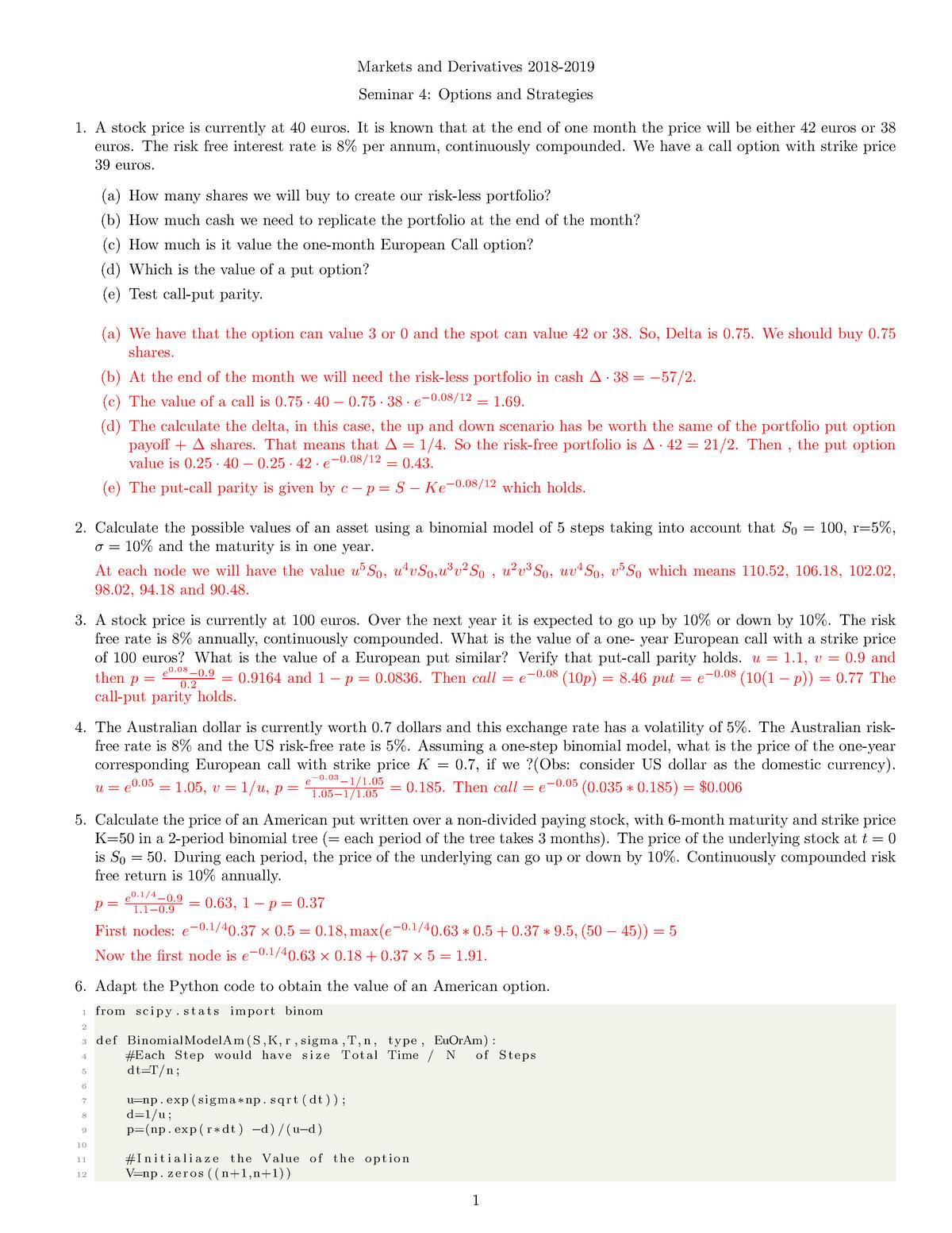 Seminar 4 - Binomial Tree - Solutions - Market & Derivatives - StuDocu