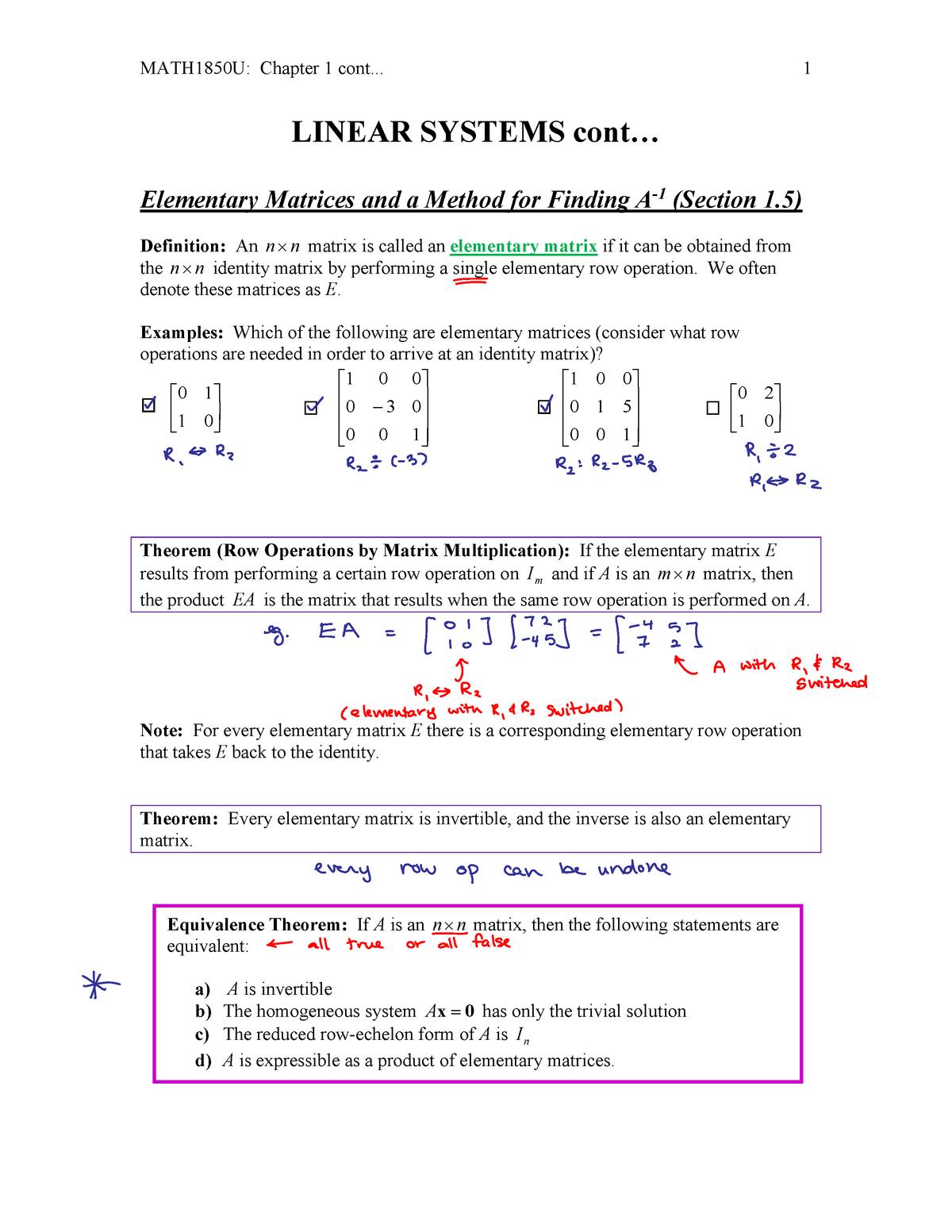 Week 2 2 (1 - Lecture 5 - MATH2050U Linear Algebra - UOIT