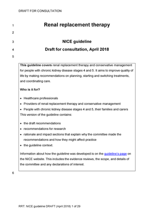 Short version of draft guideline - pharmacology