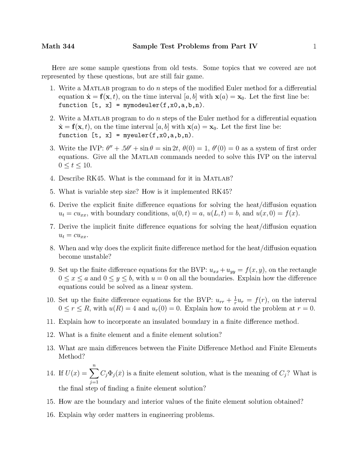 Sample/practice exam 2008, questions - Samples test problems