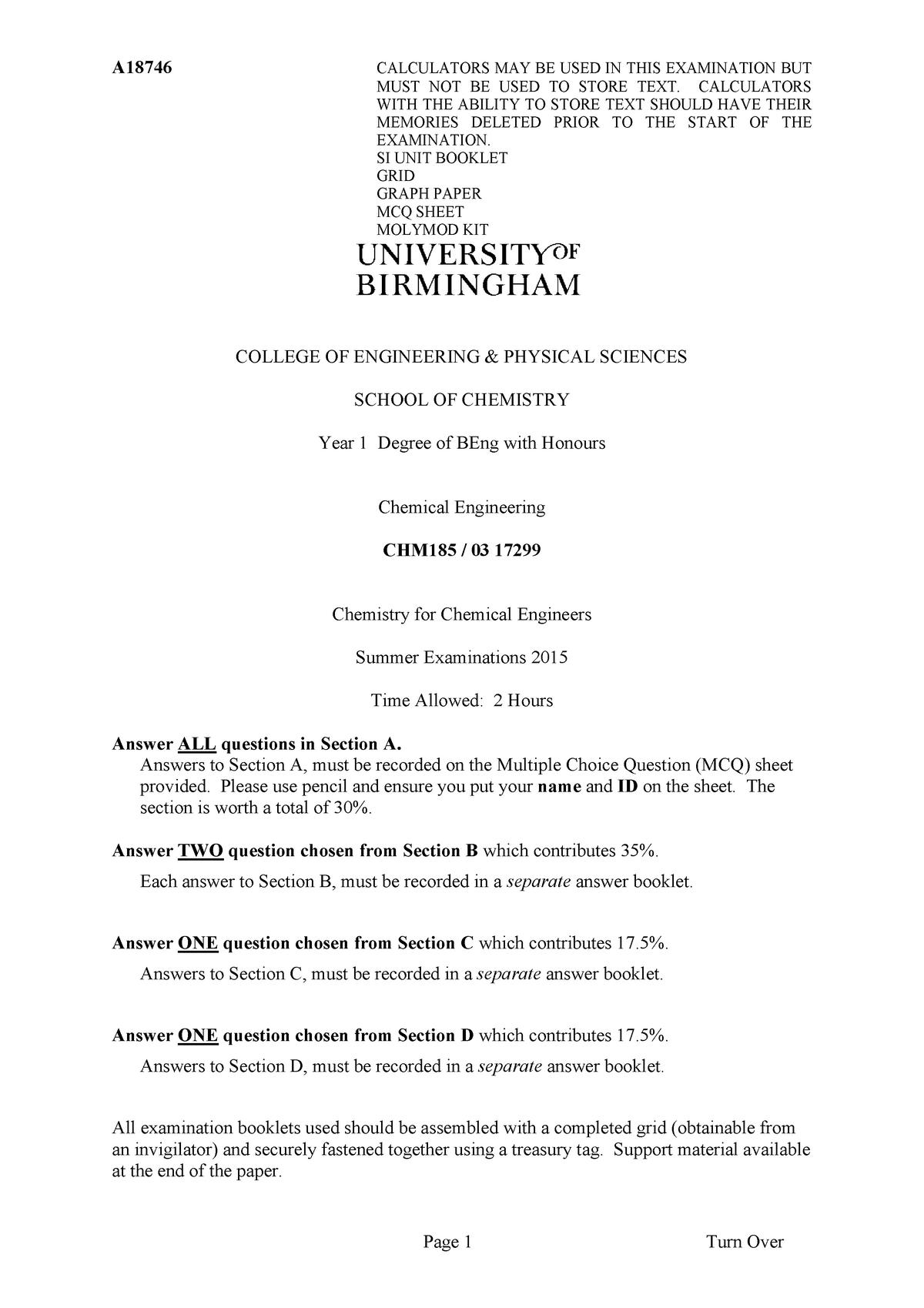 Exam 2015 - 03 17299: Chemistry for Engineers - StuDocu