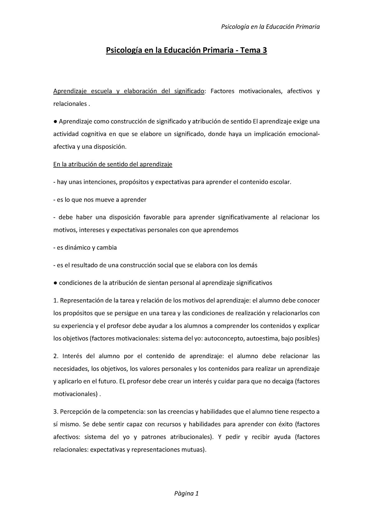 Psicología En La Educación Primaria 102548 Uab Studocu