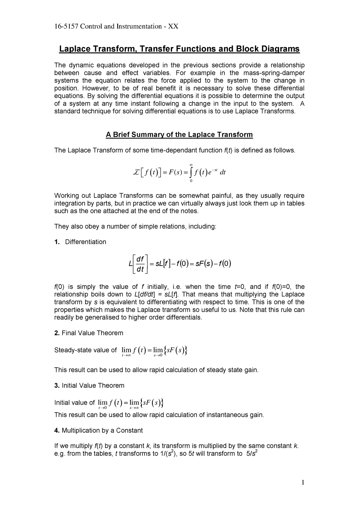 Lecture Notes 2 - Laplace Transform  Transfer Functions And Block Diagrams