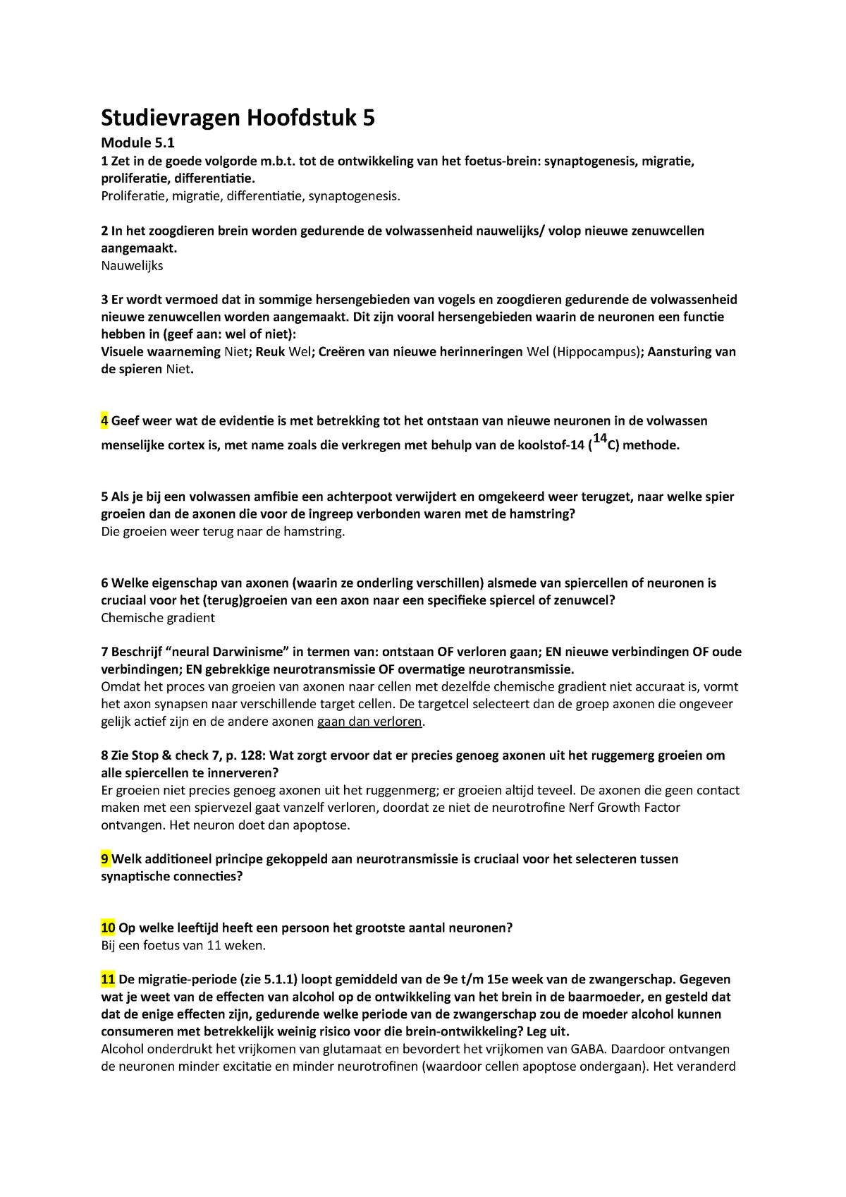 Studievragen Hoofdstuk 5 200300152 Universiteit Utrecht