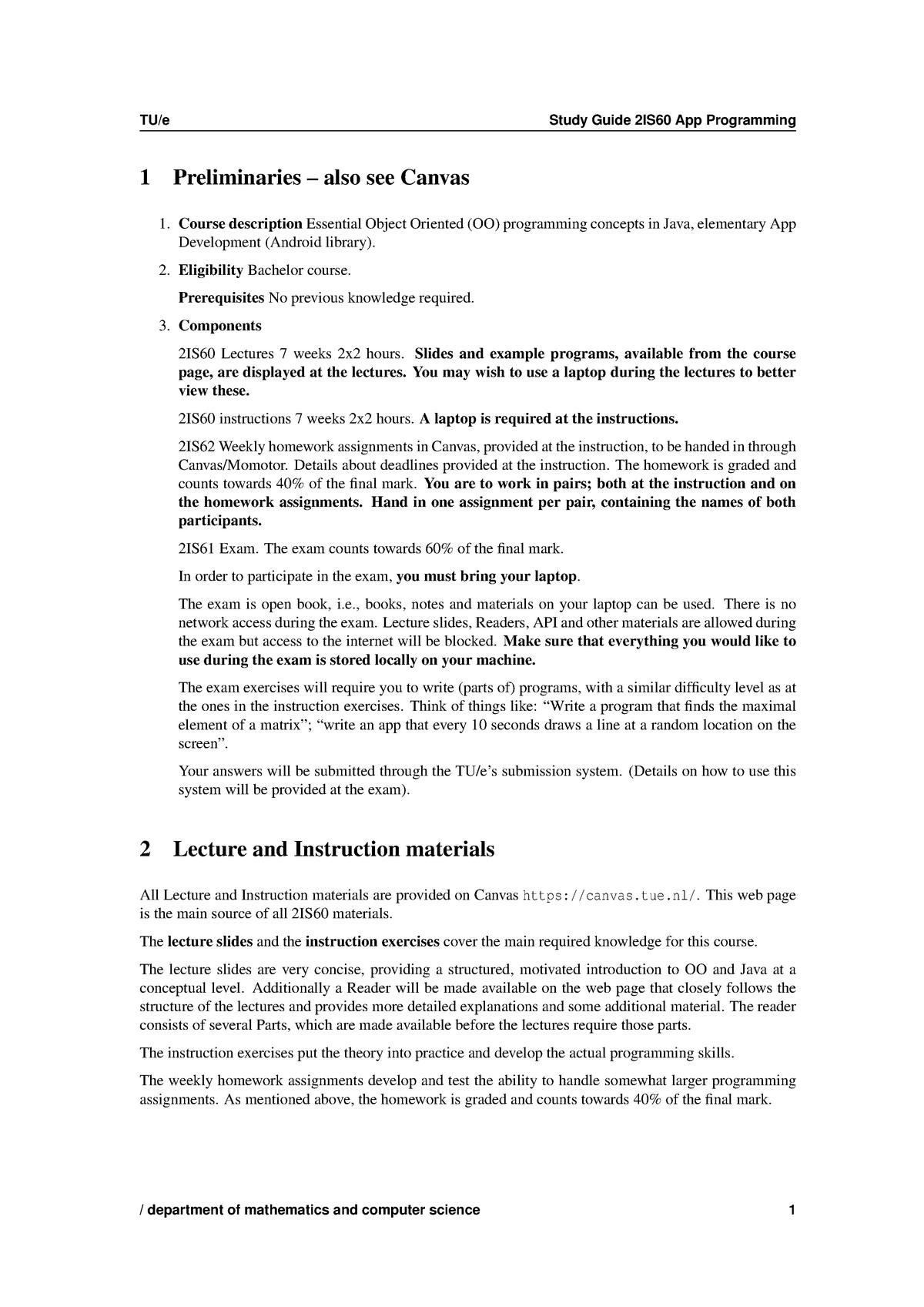 Study Guide 2IS60 - App Programming - TU Eindhoven - StudeerSnel