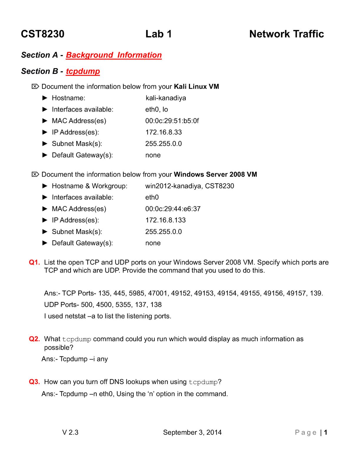 Kana0042-Lab01 - CST 8230: IT security - StuDocu